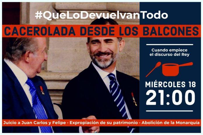 Podemos Andalucía organiza una cacelorada contra el discurso del Rey Felipe VI 1