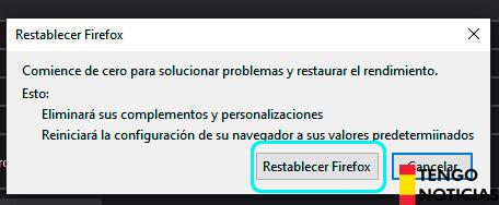 Cómo restablecer Firefox 5